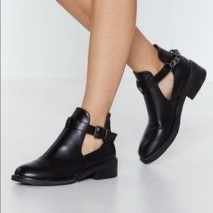 Nasty gal black leather booties